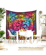 Queen Size Colorful Cycle Of The Ages Pure Cotton India Handmade Bedspre... - $24.98