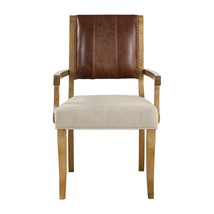 NEW ACCENT DINING ARMCHAIR HONEY HARDWOOD TOP LEATHER WOVEN FABRIC SEAT ... - $481.80