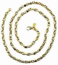 9K YELLOW GOLD NAUTICAL MARINER CHAIN OVALS 3.5 MM THICKNESS, 20 INCHES, 50 CM image 4