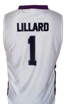 Damian Lillard Custom College Basketball Jersey Sewn White Any Size image 2