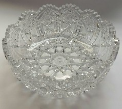 American Brilliant Period hand Cut Glass bowl Gloria   ABP antique hobstar - $148.32