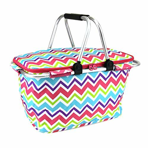 Rainbow Chevron Print Metal Frame Insulated Market Tote