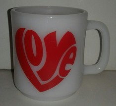 Vintage Retro 1960's Milk Glass Love Heart  Mug - $12.09
