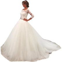 Cheap A Line Princess Lace Wedding Dresses with 3/4 Sleeves Cheap Bridal Gown  - $194.00