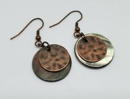 Lia Sophia Hammered Copper Abalone Disc Dangle Earrings - $10.00