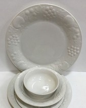 Gibson Designs Flourish 6 Piece Place Setting Service For 1 Embossed Fruits - $29.69