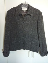 EVAN-PICONE LADIES GRAY LINED BLAZER-12-GENTLY WORN-RAYON/WOOL/NYLON-NICE - $13.99