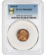 1918-D 1c PCGS MS66 RD - Amazing Gem! - Lincoln Cent - Amazing Gem! - $23,183.00