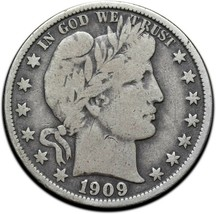 1909O Silver Barber Half Dollar Coin Lot A 341