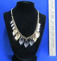 New Macys Rhinestone Necklace Tri Color Metal Gold Silver Gunmetal Gray tone - $10.34