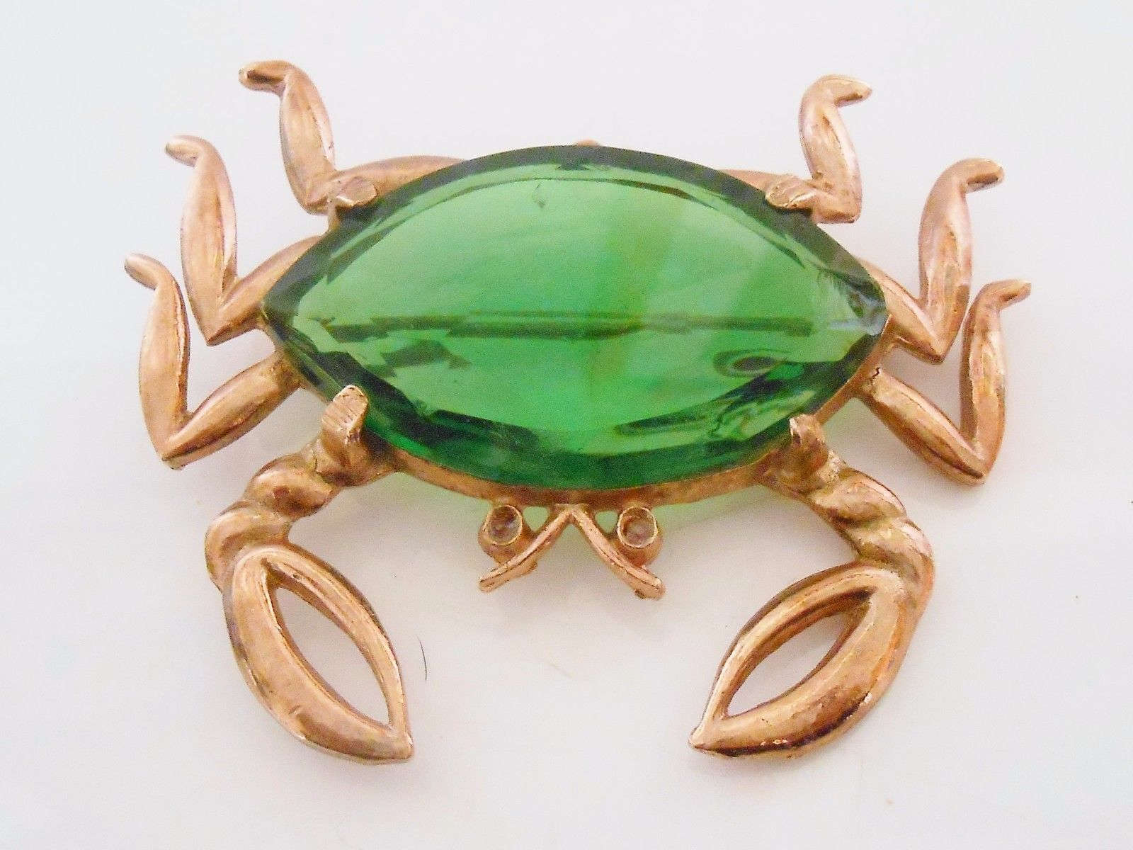 Primary image for Crab Figural Brooch Pin Large Green Faceted Glass Vintage
