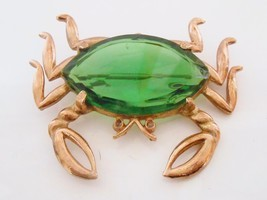 Crab Figural Brooch Pin Large Green Faceted Glass Vintage - $50.52 CAD