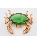 Crab Figural Brooch Pin Large Green Faceted Glass Vintage - $38.00