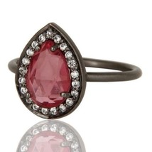 925 Sterling Silver Natural Glass Pink Gemstone Black Rhodium Ring Jewelry - $16.00