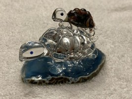 Hand Blown Glass Turtle Multi-Colored Figurine - Hitching A Ride - 3.2 Oz. - £18.71 GBP