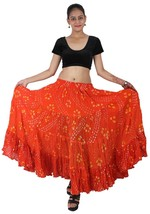 ORANGE Cotton JAIPUR 25 Yard 4 Tier Gypsy Skirt American Belly Dance Pol... - $48.63