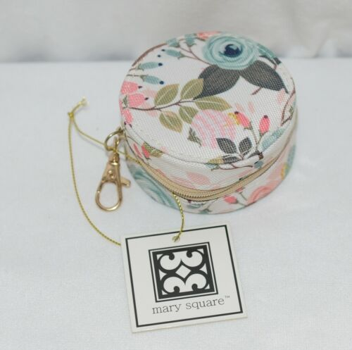Mary Square 20327 Peach Floral Earbud Case Zip Closure Elastic Bands Inside