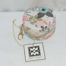 Mary Square 20327 Peach Floral Earbud Case Zip Closure Elastic Bands Inside image 1