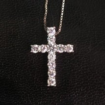 14K Gold Layer On Solid Silver Swarovski Crystal Cross Charm Pendant Fre... - $30.81