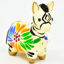 Handcrafted Painted Ceramic White Zebra Confetti Ornament Made in Peru