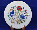 """12"""" Marble Serving Plate Collectible Inlay Designer Stone Kitchen Decor H5418C"""