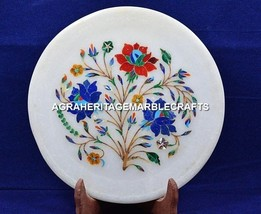 "12"" Marble Serving Plate Collectible Inlay Designer Stone Kitchen Decor ... - $185.97"