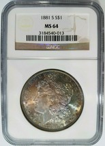 1881 S Silver Morgan Dollar NGC MS 64 Monster Rainbow Toned Toning Two S... - $239.99