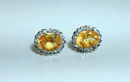 925 Sterling Silver Natural A+ Quality Citrine And Cz Gemstone Handcrafted Desig image 1