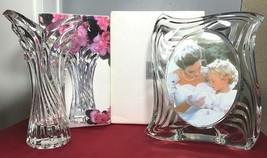 "Mikasa Crystal Japan 8"" Spring Flair Vase & 6.5"" Emotion Frame BOTH NEW ... - $36.00"