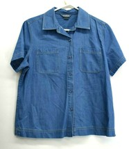 City Blues Koret Women M Short Sleeve Jewels Buttons Denim Shirt Top Ten... - $15.99