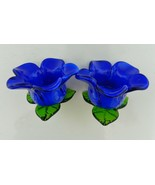 Art Glass Hand Blown Blue Flower With Green Leaves Candle Holders Lot of Two - $23.64