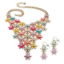 PalmBeach Jewelry Multicolor Simulated Crystal Gold Tone Necklace Earrings Set - $31.99