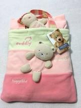 NWT Carters Classics Fleece Flower Blanket Bag Plush Teddy Bear Pink Stripe - $34.99
