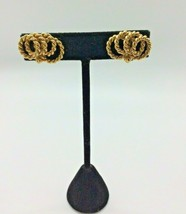 Vintage Napier Clip-On Earrings Gold Tone Twisted Rope Jewelry - $12.86