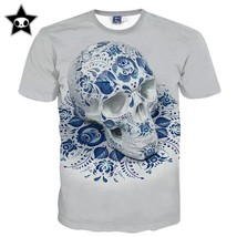 Newest fashion mens skull t shirt hip hop 3d kanye west print t-shirt for men br