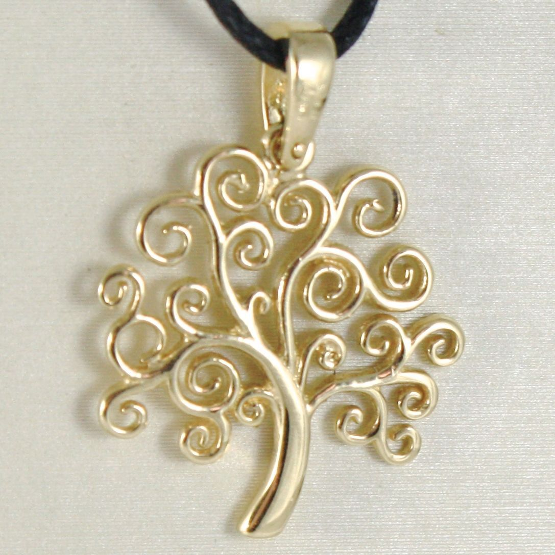 YELLOW GOLD PENDANT 0,5 WHITE 750 18K, TREE OF LIFE, FLAT, MADE IN ITALY