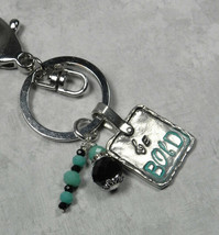 Be Bold Crystal Rhinestone Pewter Keychain Purse Charm Turquoise Black New - $15.70