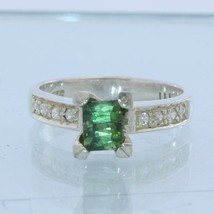 Green Tourmaline with White Sapphire Handmade Sterling Silver Ladies Ring size 6 - £80.46 GBP