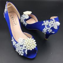 Women Navy Blue Wedding Shoess,Women Dark Blue Satin Open Toe Bridal Low Heels - $48.00