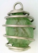 Rainbow Fluorite Nugget Stainless Steel Spiral Wrap Pendant 18 - $10.92