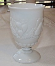 "Milk Glass Wine Goblet 3 1/4"" Wide X 4 3/8"" Tall Fruit Pattern Vintage ~ - $17.81"