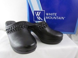 NIB White Mountain Handy Black Leather Clogs Braided Panel Sz 5 MSRP $79 - $29.99