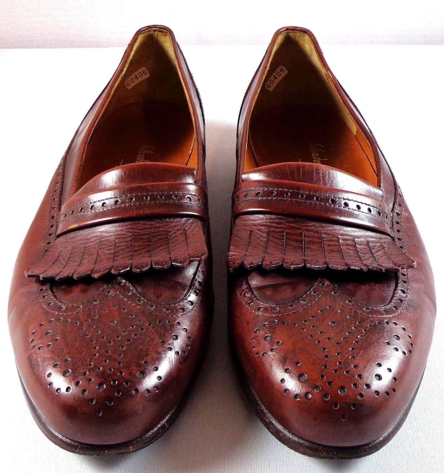 07442cefb0458 Salvatore Ferragamo Wingtip Kiltie Dress Shoes Mens 10 D Brown Leather Slip  On - $148.45