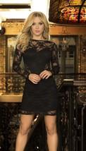 Sexy Black Lace Long Sleeve Mini Dress Clubwear Espiral 4411 - $16.99