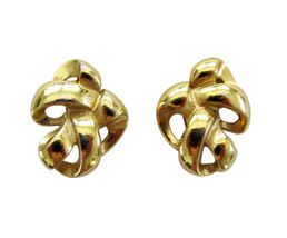 Vintage Givenchy Gold Tone Ribbon Earring Clips - $24.00
