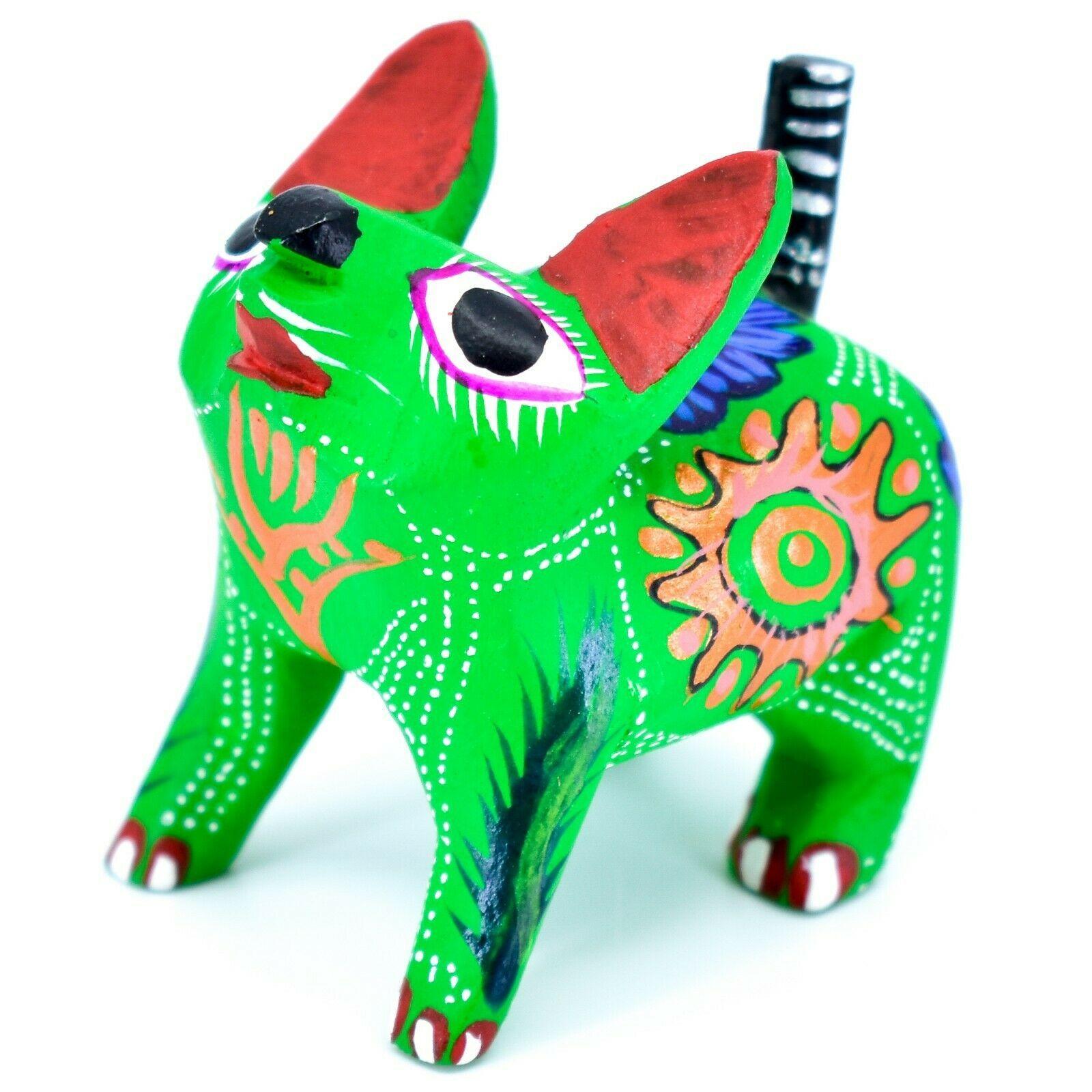 Handmade Alebrije Oaxacan Copal Wood Carving Painted Folk Art Cat Kitten Figure