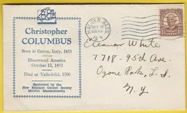 CHRISTOPHER COLUMBUS DISCOVERS AMERICA ANNIVERSARY MALDEN MASS 10/12/1933 - $1.98