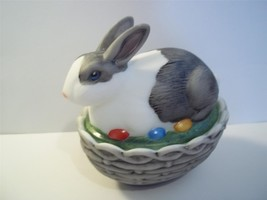 Mosser Glass Natural Hp Black & White Easter Bunny Rabbit Box Basket Candy Dish! - $38.75