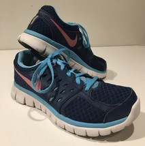 Nike Flex 2013 Run Youth Girls Womens Running Shoes Blue + Pink Size 5.5 - $16.60