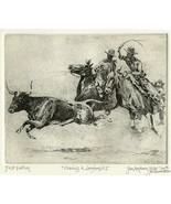 "Edward Borein Longhorn Etching ""Chasing A Longhorn No.2"" 1st printing (D... - $490.00"